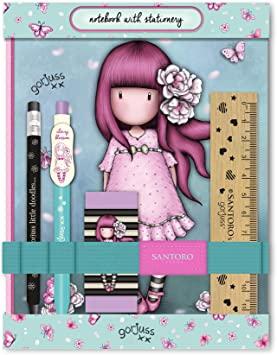 set de papelería, kit de papelería, cuaderno, lápices, santoro london, gorjuss, cherry blossom, 602GJ10, a